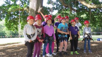 a group of children about to go tree climbing with Goodleaf