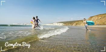 Kids running on beach