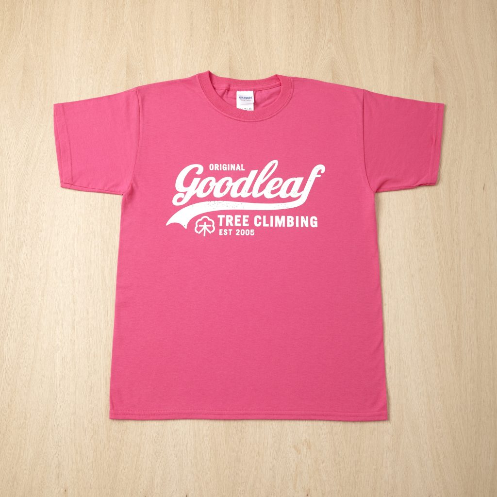 Goodleaf Tree Climbing Shop - bright pink t shirt
