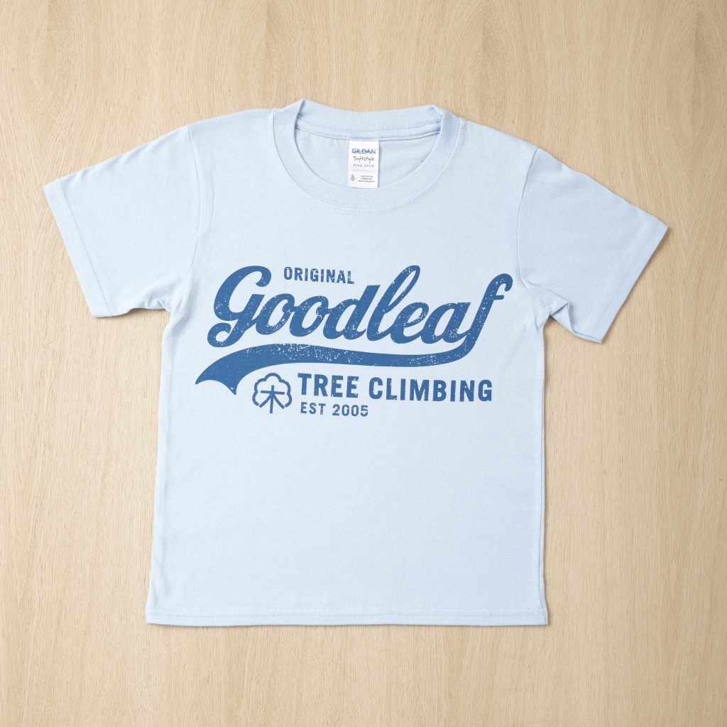 Goodleaf tree climbing shops pale blue t shirt