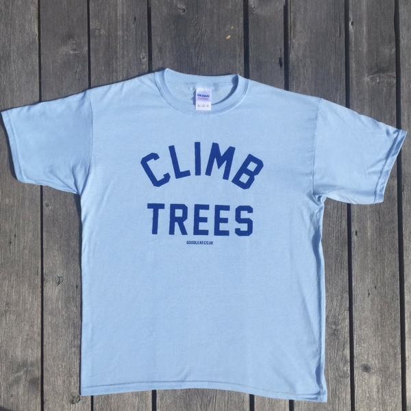goodleaf tree climbing shop pale blue t shirt