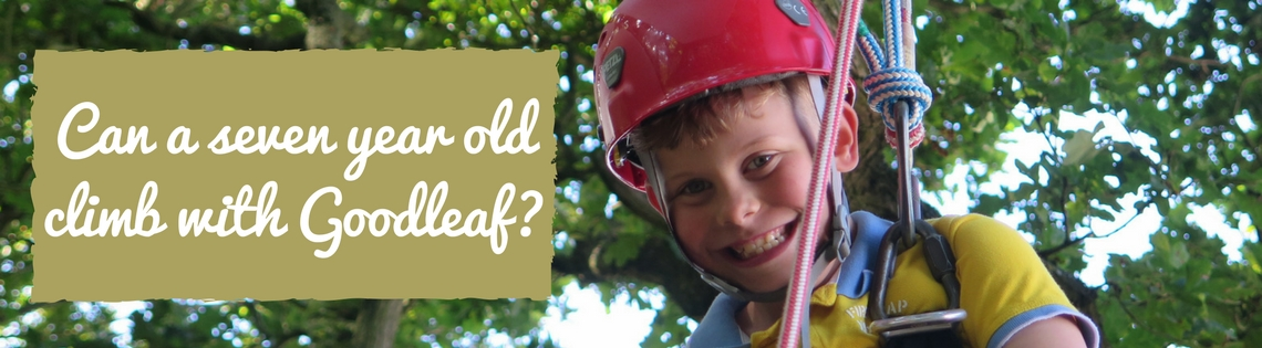 smiling boy climbing tree with rope and harness can a seven year old climb with Goodleaf?