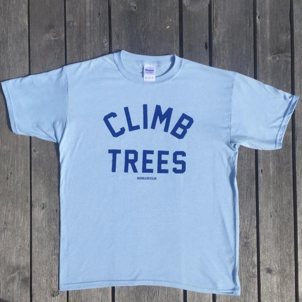 goodleaf tree climbing shop pale blue t shirt