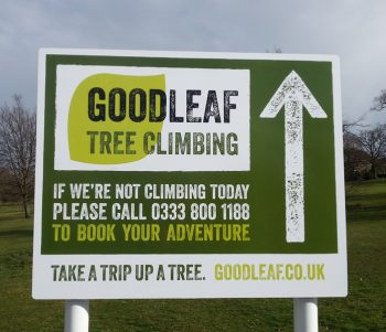 Car park sign Goodleaf Tree Climbing