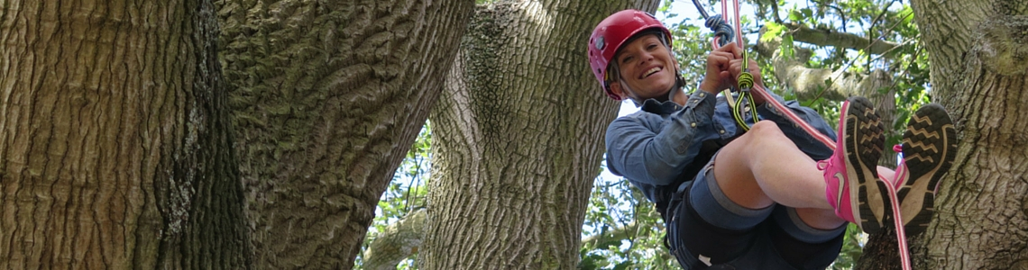 Mum tree climbing in Cowes Week - Family Fun