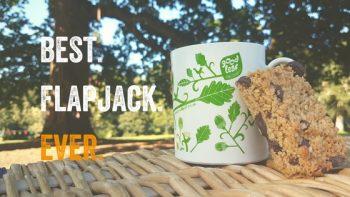 Flapjack and mug of tea under a tree