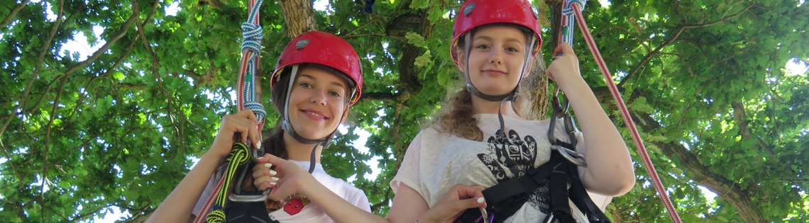 can a seven year old climb? Girls climbing a tree together