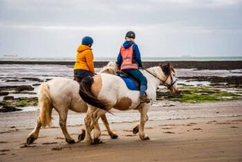 Two people riding horses on a sandy beach